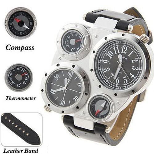 Armbanduhr OULM Design Dual Timer Japan Movt Zeit Compass Thermmeter HP9415 Schwarz