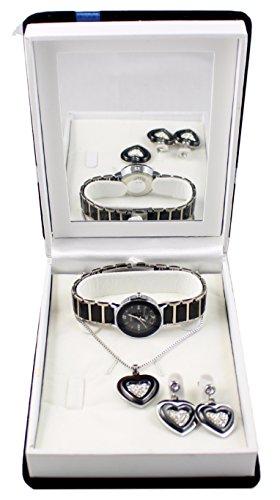 Geschenkbox Damen Armbanduhr Schmuck aus Keramik Halskette und Ohrringe