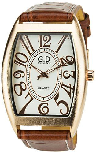 Giorgio Dario Armbanduhr Silber Gold Quartz Gehaeuse Stahl Analog Armband Kunstleder hellbraun