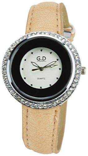 GIORGIO DARIO Damen Armbanduhr Silber Quarz Stahlgehaeuse Anzeige Typ Analog Armband Kunstleder beige