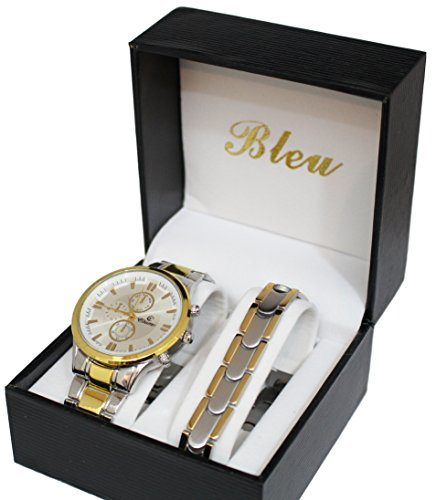 Herren Armbanduhr Farbe Gold und Panzerketten Armband aus Edelstahl