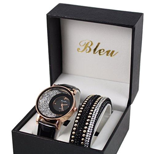Box zeigt Damen Gold Leder schwarz Strass doppelt gewickelt Stardust Dolce Vita