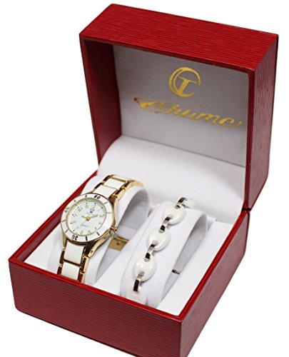 Set Damen Armbanduhr vergoldet Weiss Armband Keramik Collection Dolce Vita