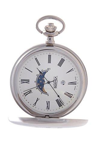 gb21216 rhodiniert Demi Haelfte Hunter Quarz Uhrwerk Roemisches Zifferblatt weisses Zifferblatt