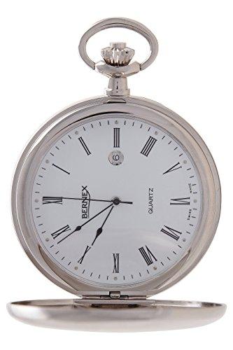 gb21225 rhodiniert Demi Haelfte Hunter Quarz Uhrwerk Roemisches Zifferblatt weisses Zifferblatt