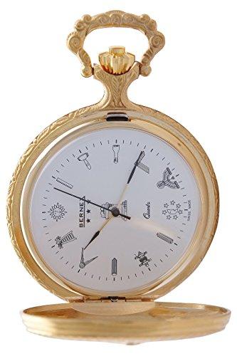 gb21111 vergoldet Demi Haelfte Hunter Quarz Uhrwerk Freimaurer Zifferblatt Strukturierte Zifferblatt