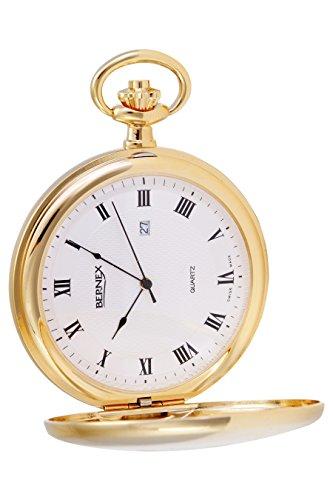 gb21135 vergoldet Demi Haelfte Hunter Quarz Uhrwerk Roemisches Zifferblatt Strukturierte Zifferblatt