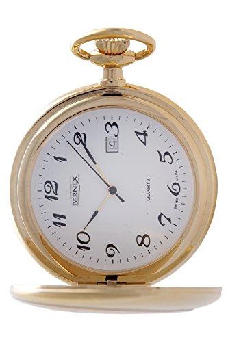 gb21104 vergoldet Full Hunter Quarz Uhrwerk Roemisches Zifferblatt weisses Zifferblatt