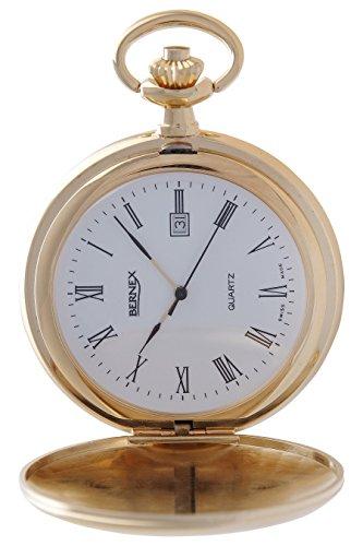 gb21115 vergoldet Full Hunter Quarz Uhrwerk Roemisches Zifferblatt Strukturierte Zifferblatt
