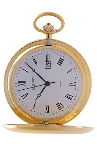 gb21120 vergoldet Full Hunter Quarz Uhrwerk Roemisches Zifferblatt Strukturierte Zifferblatt