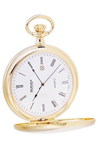 gb21125 vergoldet Demi Haelfte Hunter Quarz Uhrwerk Roemisches Zifferblatt Strukturierte Zifferblatt