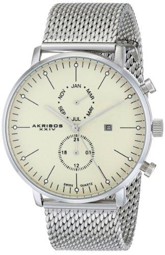 Akribos XXIV Herren ak685ss Ultimate Edelstahl Uhr mit Mesh Armband
