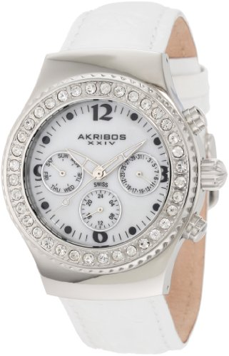 Akribos XXIV Damen AKR449W ultimative Schweizer Chrono White Uhr