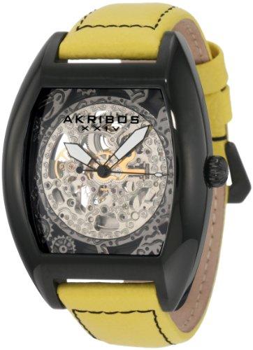 Akribos XXIV Herren AKR454YL Premier Skelton Automatic Tourneau Shaped Uhr