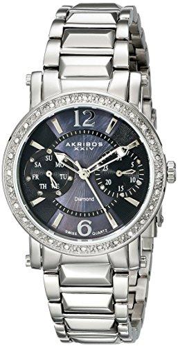 Akribos XXIV Damen AKR472SS Lady Diamond Collection Diamant Schweizer Tages und Datumsanzeige