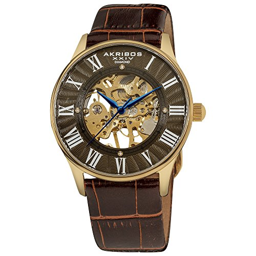 Akribos XXIV Herren Bravura Slim Mechanische Leder Armbanduhr