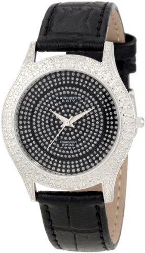 Akribos XXIV Damen Brillianaire Diamond Black Schweizer Quartz Armbanduhr