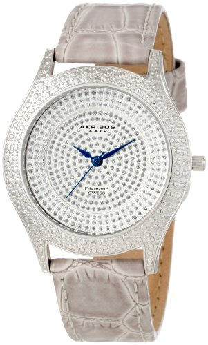Akribos XXIV Damen Diamant grau Brilliance Edelstahl Armbanduhr mit Rindsleder Band