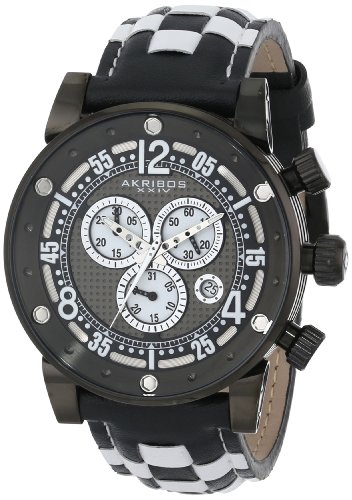 Akribos XXIV Explorer Chronograph Steel Black and White Checkered Leather Strap Armbanduhr AK612BK
