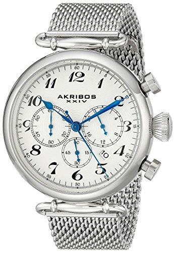 Akribos XXIV Herren Retro Chronograph Edelstahl Uhr mit Mesh Armband