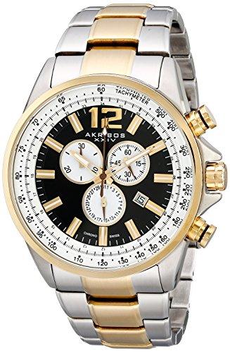 Akribos XXIV Herren Conqueror Schweizer Chronograph Schwarz Zifferblatt bicolor Edelstahl Armband Armbanduhr