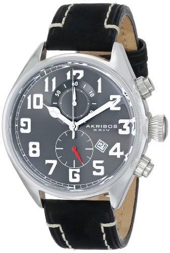 Akribos XXIV Herren ak706ssb Essential Chronograph Grau Zifferblatt Edelstahl schwarz Lederband Armbanduhr