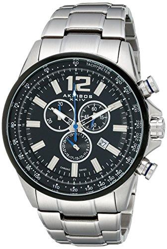 Akribos XXIV Herren Conqueror Schweizer Chronograph Schwarz Zifferblatt Edelstahl Armband Uhr