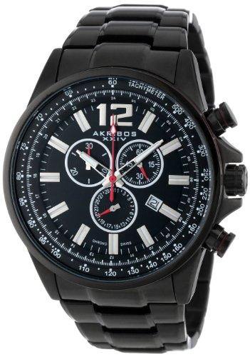 Akribos XXIV Herren Conqueror Schweizer Chronograph Schwarz Edelstahl Armband Armbanduhr