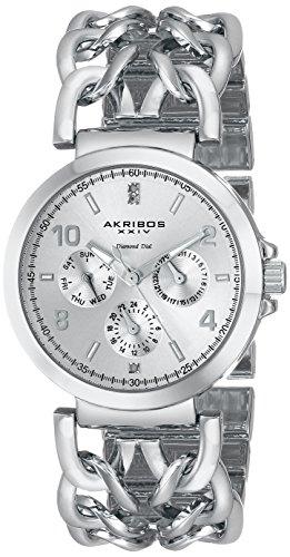 Akribos XXIV Lady Diamond silberfarbenes mit Link Armband