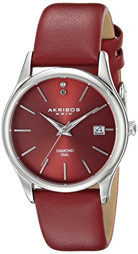 Akribos XXIV Damen Armbanduhr Akribos Xxiv WomenS Ak879Rd Diamond Accented Silver Tone Stainless Steel Burgundy Leather Strap Watch Analog QuarzAK879RD