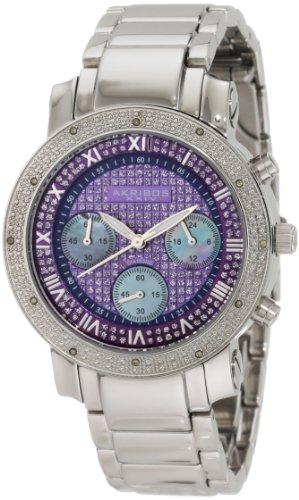 Akribos XXIV Damen der grandiosen Diamant Chronograph Quarz blau Zifferblatt Armbanduhr