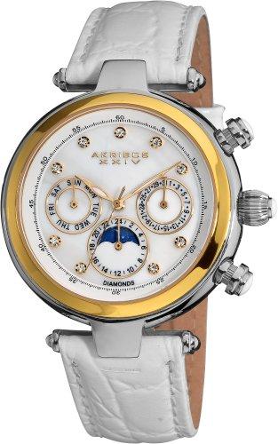 Akribos XXIV Damen Klassische Edelstahl diamond accented Automatische Armbanduhr mit Leder Band