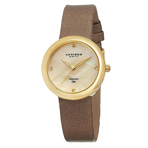 Akribos XXIV Damen ak687yg makellose goldfarbene Uhr mit Diamant Marker