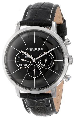Akribos XXIV Herren s Ultimate Multifunktions Edelstahl Armbanduhr mit texturiertem schwarz Leder Band