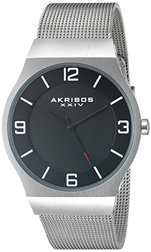 Akribos XXIV Herren Schwarz Rund Zifferblatt Drei Hand Quarz Armband Armbanduhr