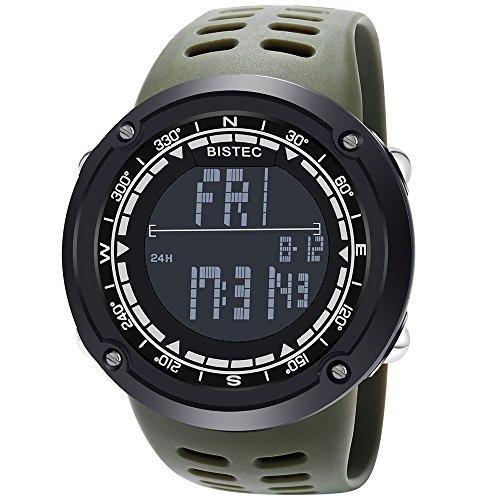 Bistec Herren Sport Armbanduhr LED Digital Metall Gehaeuse Multifunktions Stopuhr Gruen