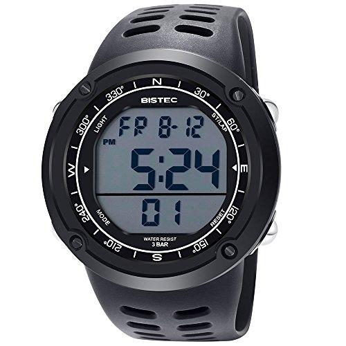 Bistec Herren Sport Armbanduhr LED Digital Metall Gehaeuse Multifunktions Stopuhr Schwarz