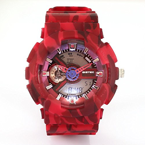 Bistec Unisex Militaer Armbanduhr LED Digital Dual Time Big Face Camouflage Multifunktions Wasserdicht Red