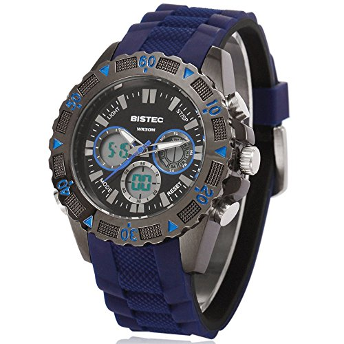 Bistec Herren Uhren Sport Digital Quarz Armbanduhr Wasserdicht mit Datum Alarm Stoppuhr LED Blau