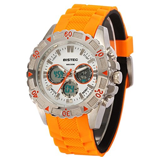 Bistec Herren Uhren Sport Digital Quarz Armbanduhr Wasserdicht mit Datum Alarm Stoppuhr LED Gelb