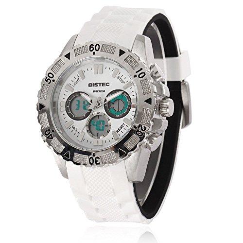 Bistec Herren Uhren Sport Digital Quarz Armbanduhr Wasserdicht mit Datum Alarm Stoppuhr LED Weiss