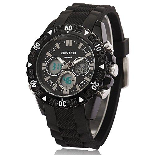 Bistec Herren Uhren Sport Digital Quarz Armbanduhr Wasserdicht mit Datum Alarm Stoppuhr LED Schwarz