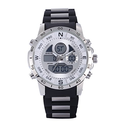 Bistec Causal LED Digital Edelstahl Big Face Armbanduhr Multifunktions Wasserdicht Weiss
