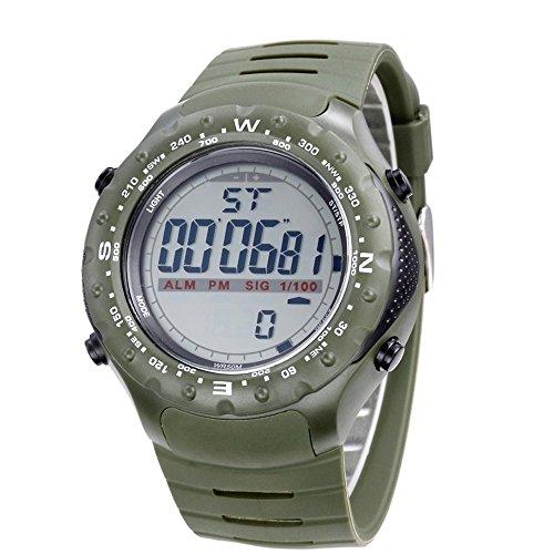 Bistec Sport LED Digital Grossen Gehaeuse Armbanduhr Wasserdicht Datum Alarm Stoppuhr Gruen