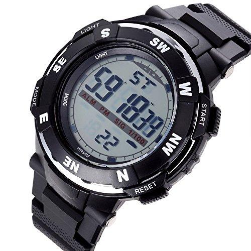 Bistec Herren Uhren Casual LED Digital Grossen Gehaeuse Armbanduhr Wasserdicht Datum Alarm Stoppuhr Schwarz