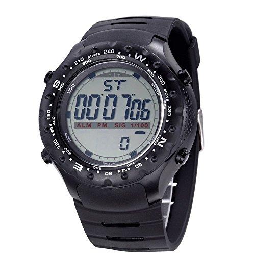 Bistec Herren Uhren Sport LED Digital Grossen Gehaeuse Armbanduhr Wasserdicht Datum Alarm Stoppuhr Schwarz