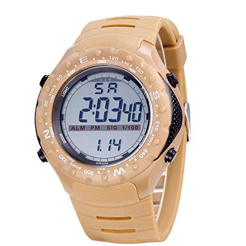Bistec Sport LED Digital Grossen Gehaeuse Armbanduhr Wasserdicht Datum Alarm Stoppuhr Gelb