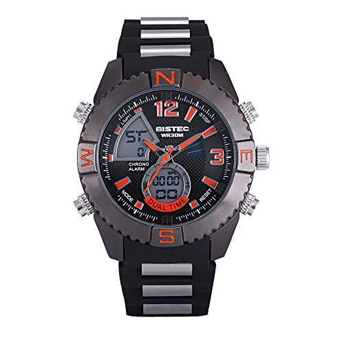 Bistec Casual LED Digital Edelstahl Big Bang Style Armbanduhr Multifunktions Wasserdicht Schwarz Rot