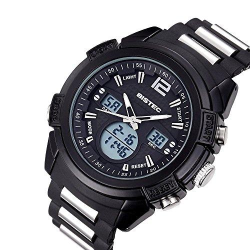 Bistec Herren Dual Time Leuchtzeiger Black Zifferblatt Multifunktion Wasserdicht Quarz Sport Armbanduhr