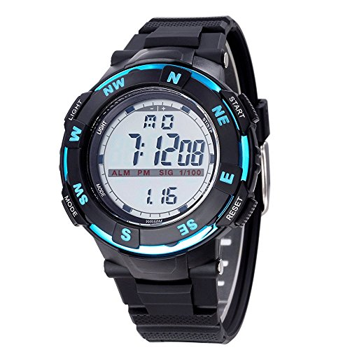 Bistec Militaer LED Digital Grossen Gehaeuse Armbanduhr Wasserdicht Datum Alarm Stoppuhr Blau